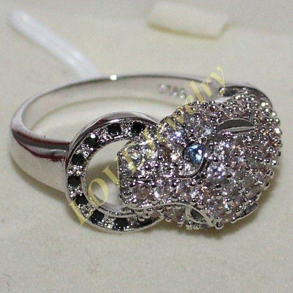 Größe 6,8,10 Frauen 925 Silber simuliert Diamant Stein CZ Pave Set Leopard Ring Designer Inspired Marke Schmuck