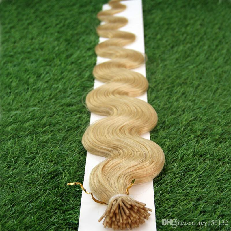 613 Bleach Blonde Brazilian human hair 100g blonde i tip hair indian 22 Body Wave 100s pre bonded keratin stick tip human hair