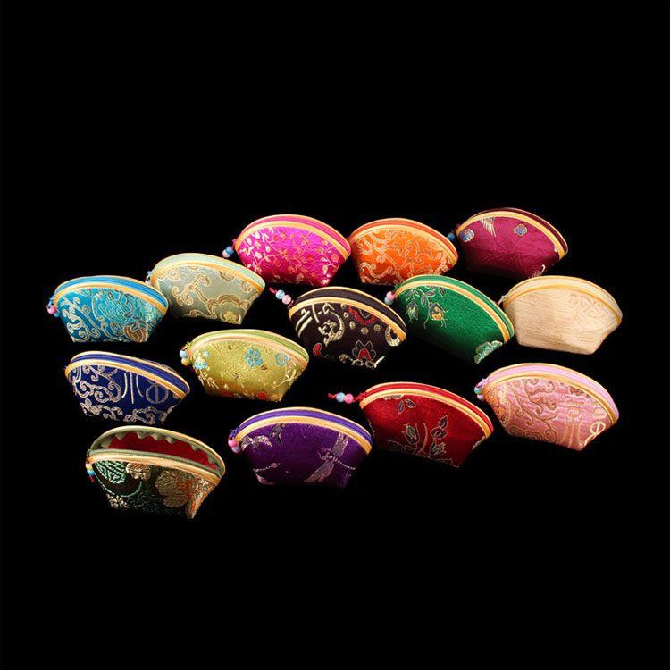 Cheap Lucky Seashell Zipper Coin Purse Fashion Wallet Silk Brocade Wedding Candy bag Bride Favor Chocolate Box Wholesale /set
