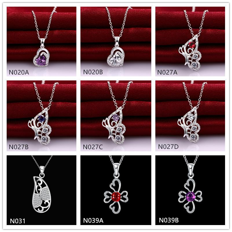 Venta directa de fábrica de moda Piedra preciose de mujer 925 Collar de plata colgante 10 piezas mucho estilo mezclado, collares colgantes de plata esterlina EMN25