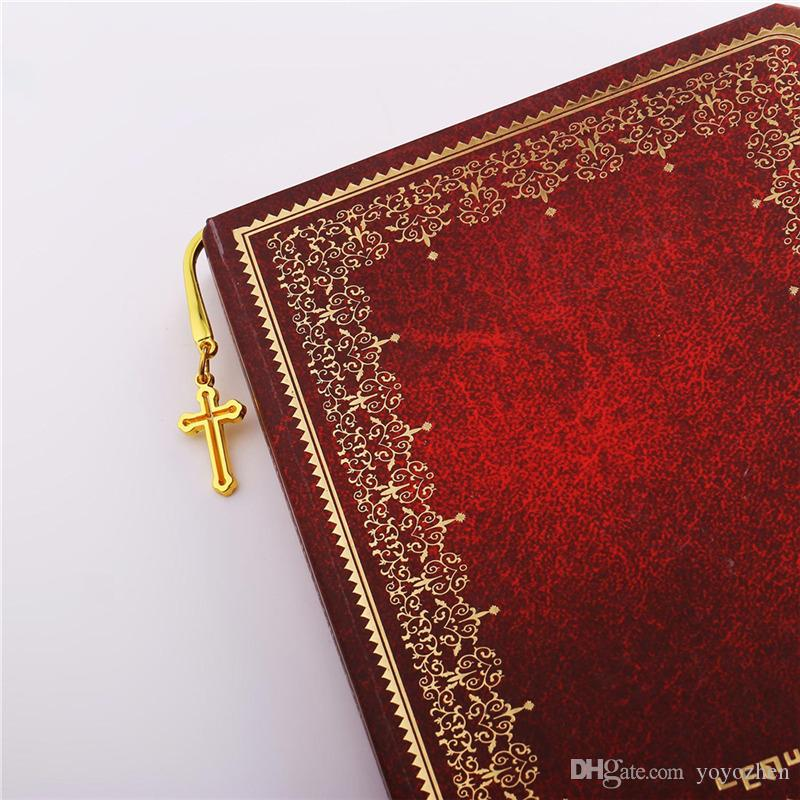 Diseño único Marcador de regalo Alta calidad 18K Chapado en oro real / Platino chapado en encantos de cruz de metal de moda Marcador