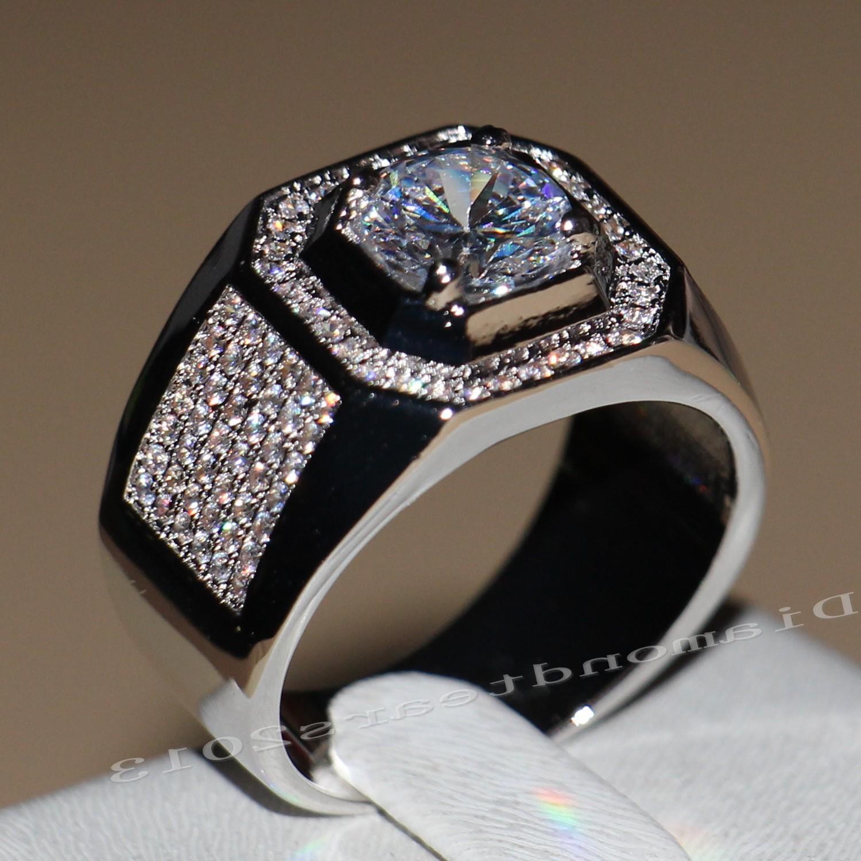 Размер 7-13 пасьянс роскошные ювелирные изделия 10kt белого золота заполнены GF топаз имитация Алмаз мужчины группа обручальное кольцо
