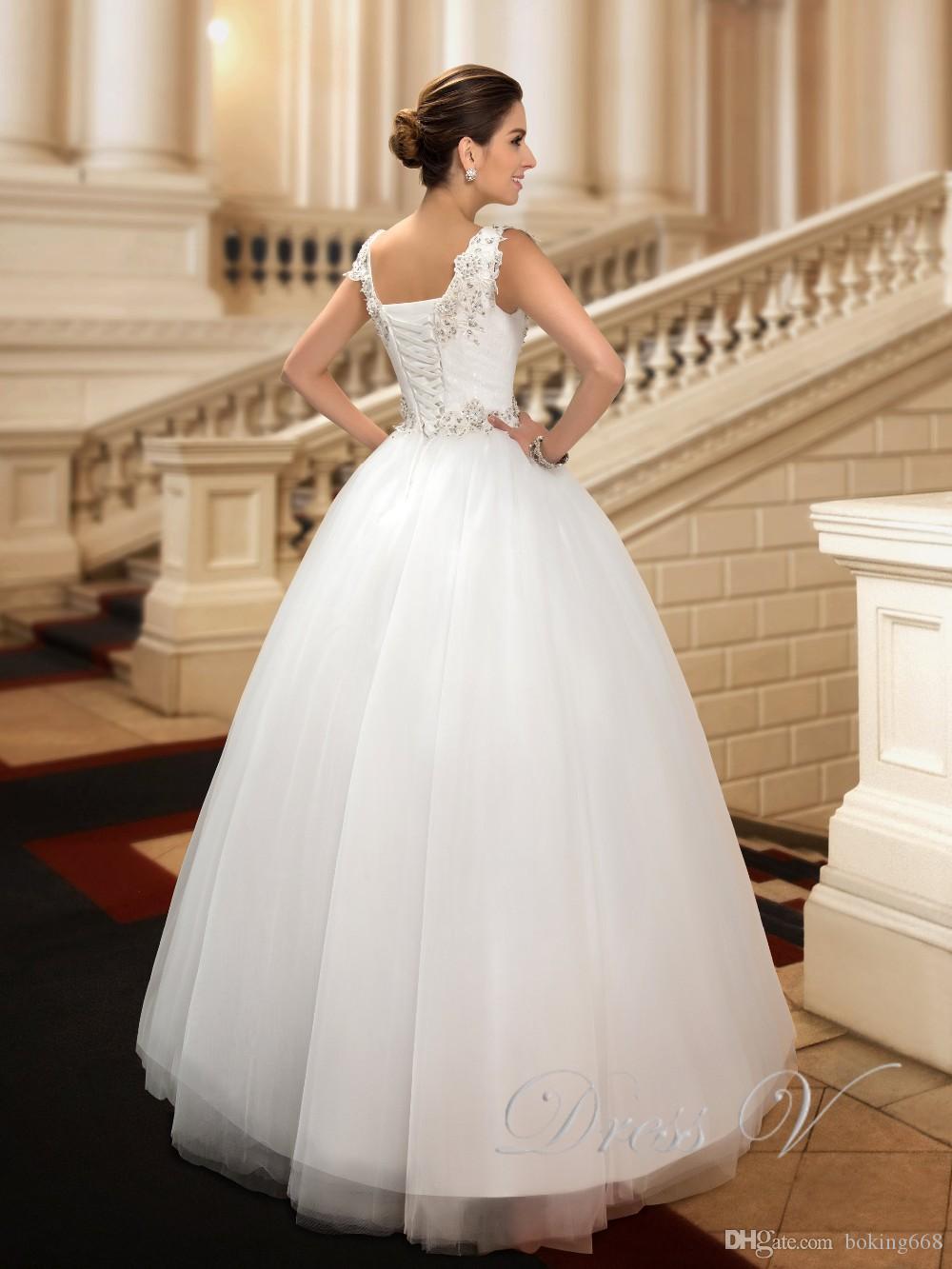 2019 Splendida V-Neck Abiti da sposa Lace Up Piano Lunghezza abito da sposa Appliques Liste Tulle Ball Gown Abito da sposa Abiti Da Sposa