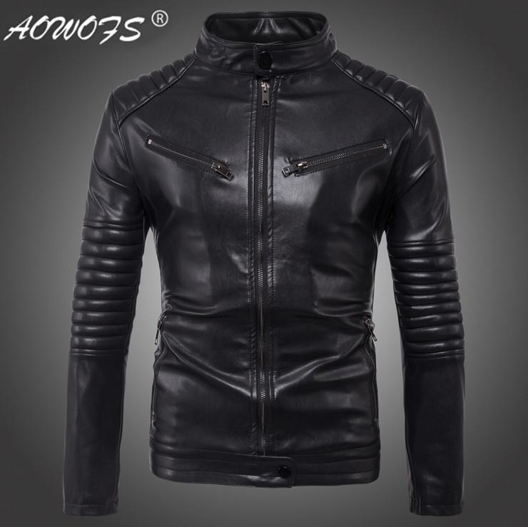 Dropshipping Men s leather jacket Autumn Slim fit Faux leather jacket Big  Size 5XL motorcycle bomber leather jackets coats