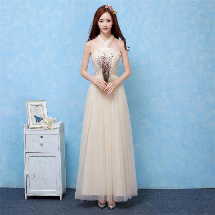 2018 New Champagne Long Bridesmaid Dresses Women Wedding Prom Party Cocktail Elegant Evening Gowns Beautiful Pretty Celebrity Dresses