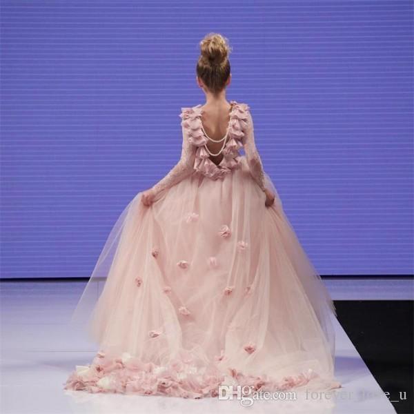 블러쉬 핑크 소녀 미인 대회 드레스 긴 정장 꽃 소녀 드레스 결혼식을위한 3D 수제 꽃 환상 레이스 긴 소매 진주