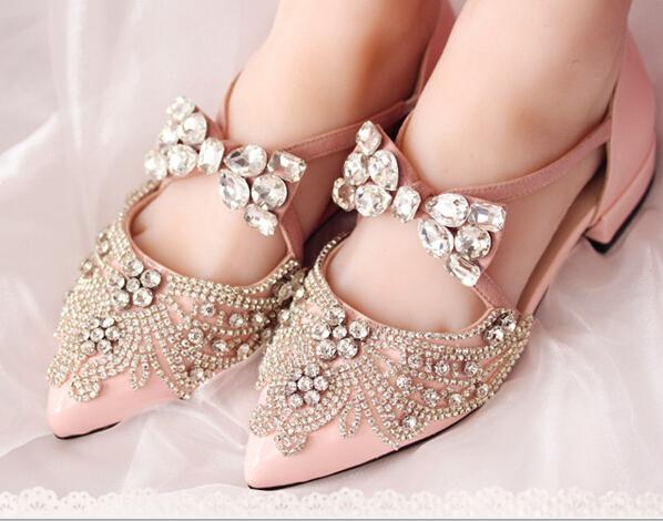 Pink Rhinestone Pearl Wedding Shoes 2cm Low Heel Pointed Toe Rubber Sole PU Bridal  Shoes Princess Style Party Prom Shoes Women Weddidng Shoes Bridal Shoes ...