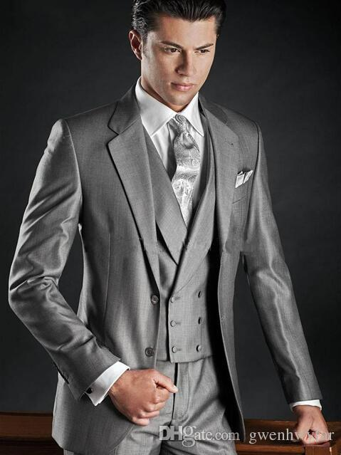 ad49a620f New Design Two Buttons Light Grey Groom Tuxedos Groomsmen Best Man ...