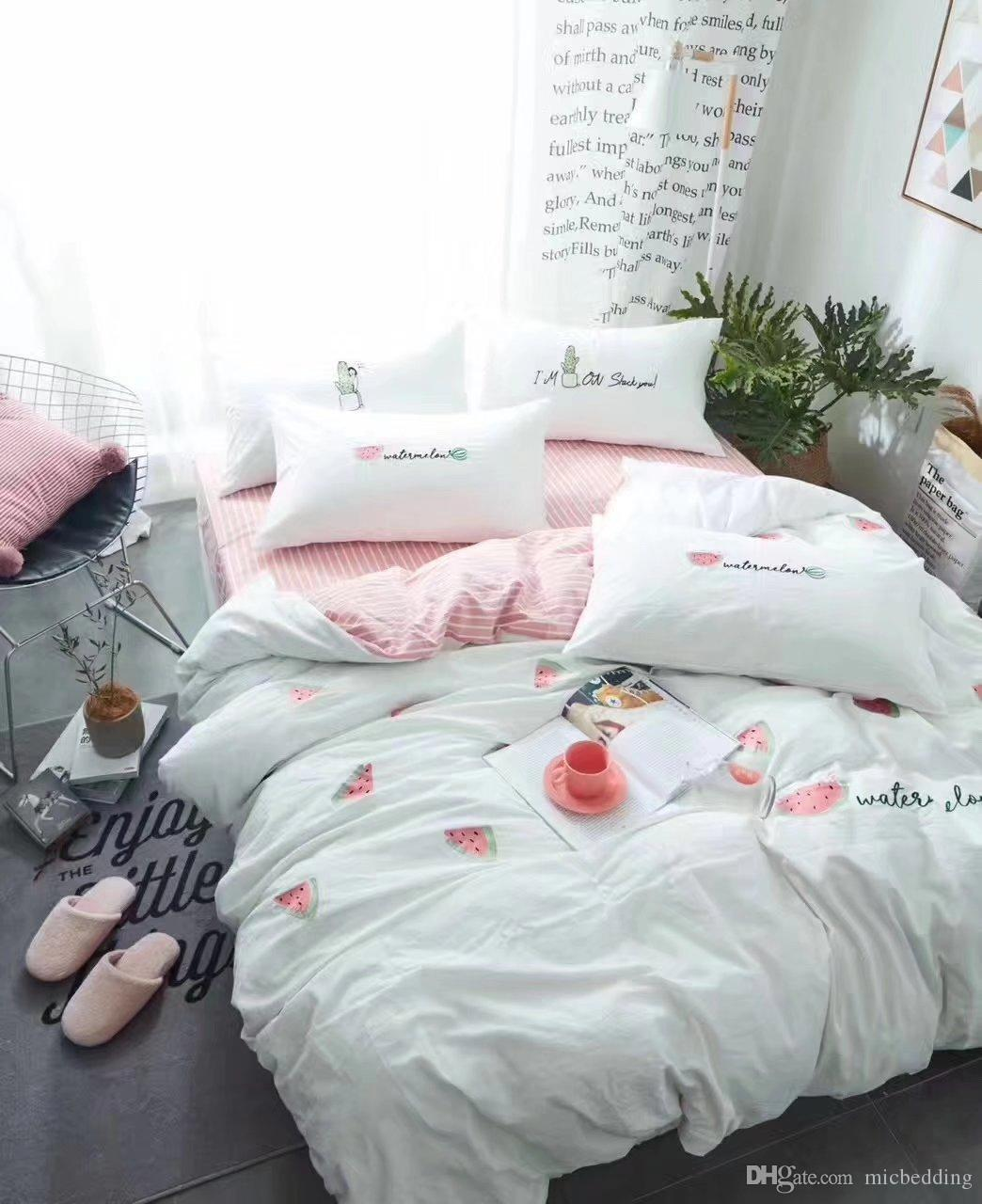 Yarn-dyed washed cotton with embroidry bed sheet bedding set home textiles manufacture supplier export quality 16002