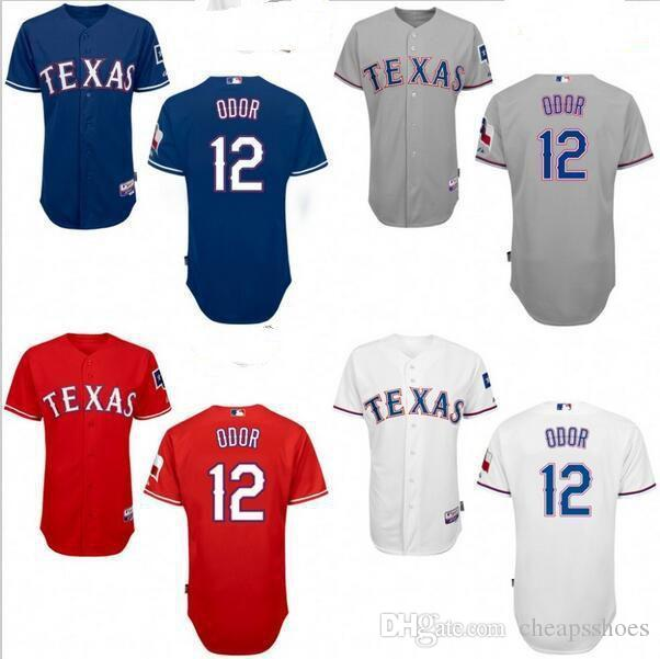 e0fb9240 ... Cool Base Rougned Odor Baseball Jerseys Cheap Fashion 2017 Texas  Rangers 12 Rougned Odor Jersey White Blue Red Grey MenS Stitched Logo High  Quality ...