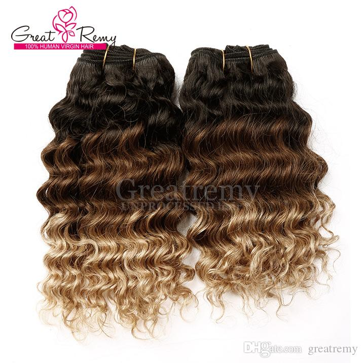 """Greatremy® 100% Brazilian Human Hair Extension Ombre Dye Three Tone #1B/#4/#10""""-30"""" Hair Weft Weave Wavy Deep Wave 8A"""