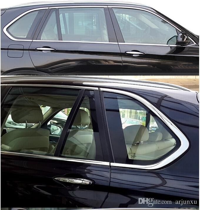 Stainless Steel Door Full Window Sill Frame Molding Trim For BMW X5 E70 2008-2013