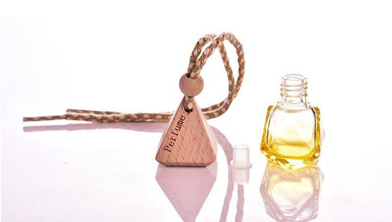 MINI 6ml Colorful Glass Essential Oil Bottle car hang decoration Pendant Fimo beauty Perfume Vials Wedding Gift JF-106