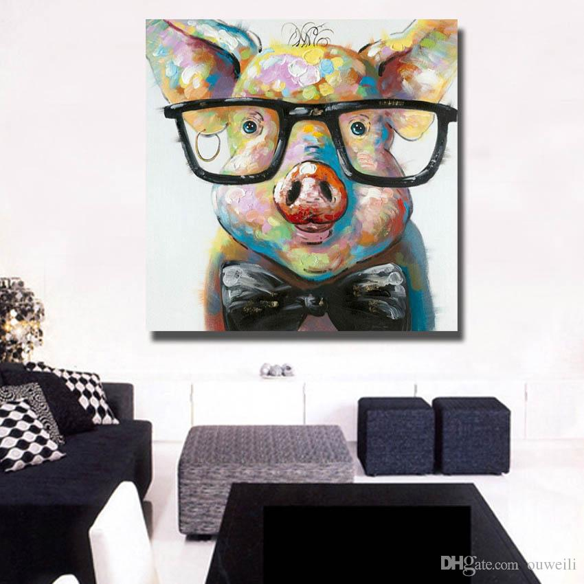 Home goods handmade crafts for wall decor abstract animal pig oil painting large canvas art cheap