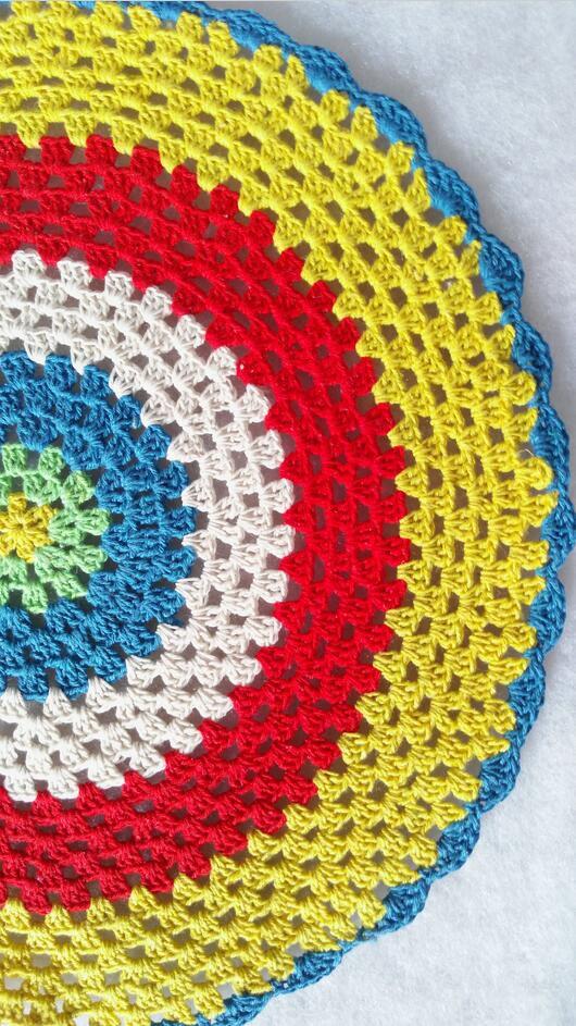 2018 Wholesale Hand Crochet Cotton Pads Rainbow 32cm Round Placemats