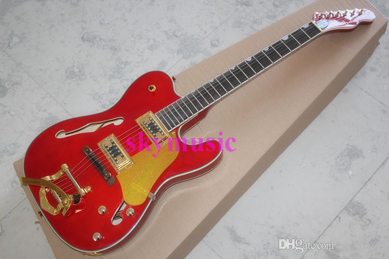 New Style Hollow Body F Hole Tl With Gold Hardware Big Tremolo Red ...