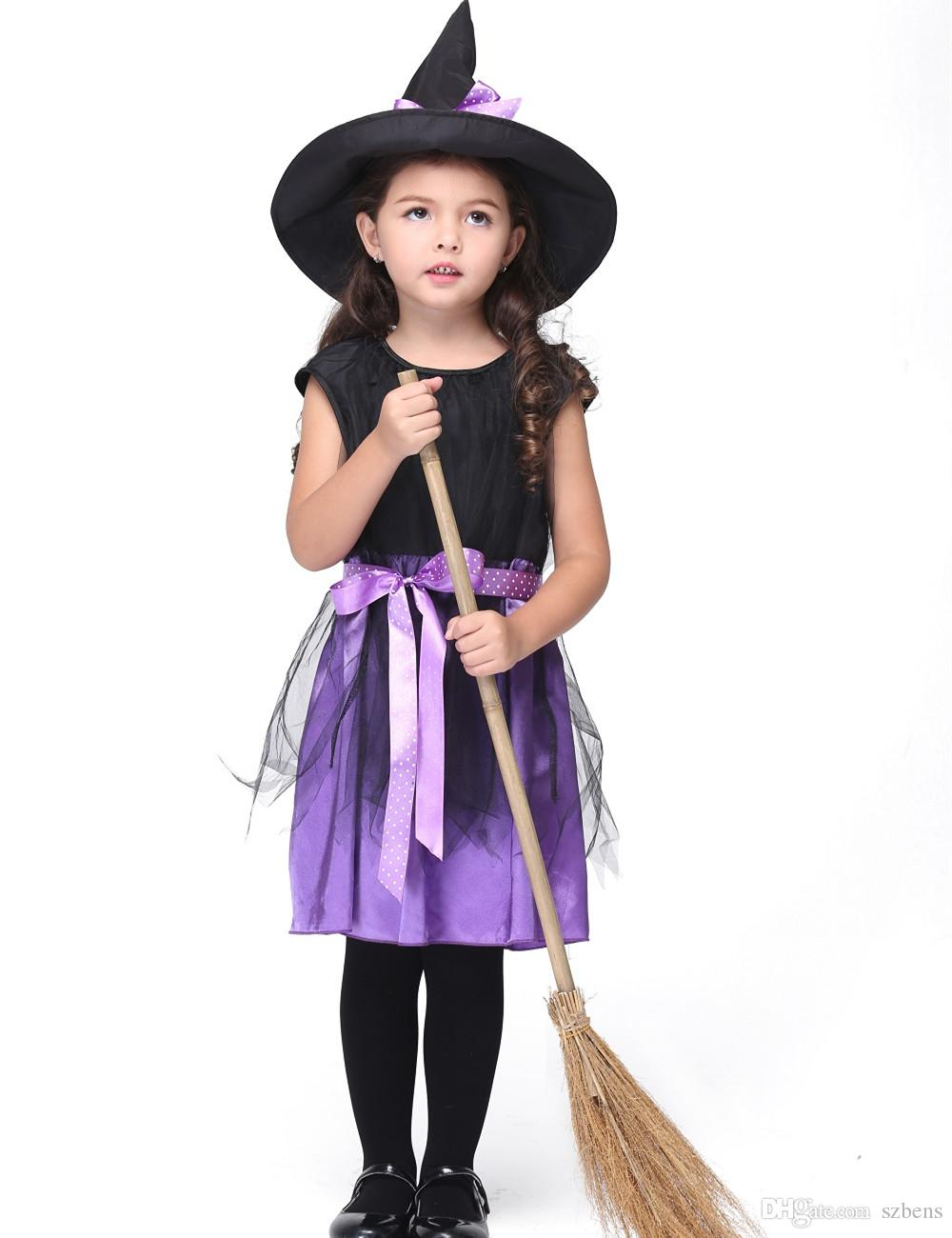 Girls Witch Costume Dress Halloween Costume For Kids Stage u0026 Dance Dress Toddler Short Sleeve Skirt Party Cosplay Purple Kids Group Halloween Costumes Group ...  sc 1 st  DHgate.com & Girls Witch Costume Dress Halloween Costume For Kids Stage u0026 Dance ...