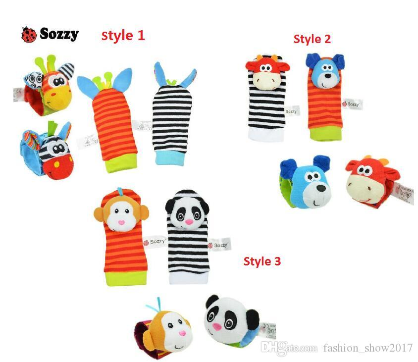 Sozzy Baby Infant Toy Soft Handbells Hand Wrist Strap Rattles Animal Socks Foot Finders Stuffed Toys Christmas Gift
