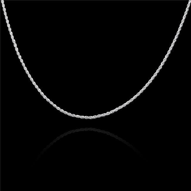 Vente chaude 2mm collier de corde torsadé flash sterling collier plaqué argent STSN226, Mode en gros 925 collier de chaînes d'argent usine