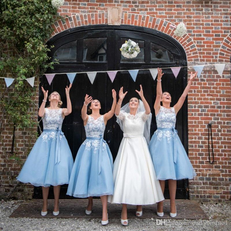 Ice Blue Short Bridesmaid Dresses Cheap 2016 Sheer Scoop with Appliques Stain Belt Tea-Length Summer Organza Maid of Honor Gowns BA2395