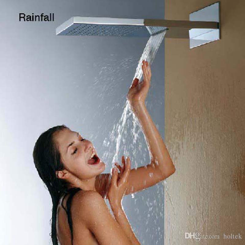 2 Fonksiyon 304 paslanmaz çelik yüksek akış yağmur duş duvara monte üst banyo musluk çift yağmur ve şelale duş başlığı