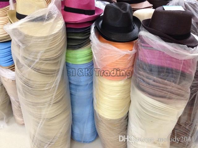Cappelli a buon mercato all'ingrosso di paglia dei cappelli di Panama di protezione di Sun i misti delicati dei cappelli del tettone di Vogue morbidi scelgono la nave libera