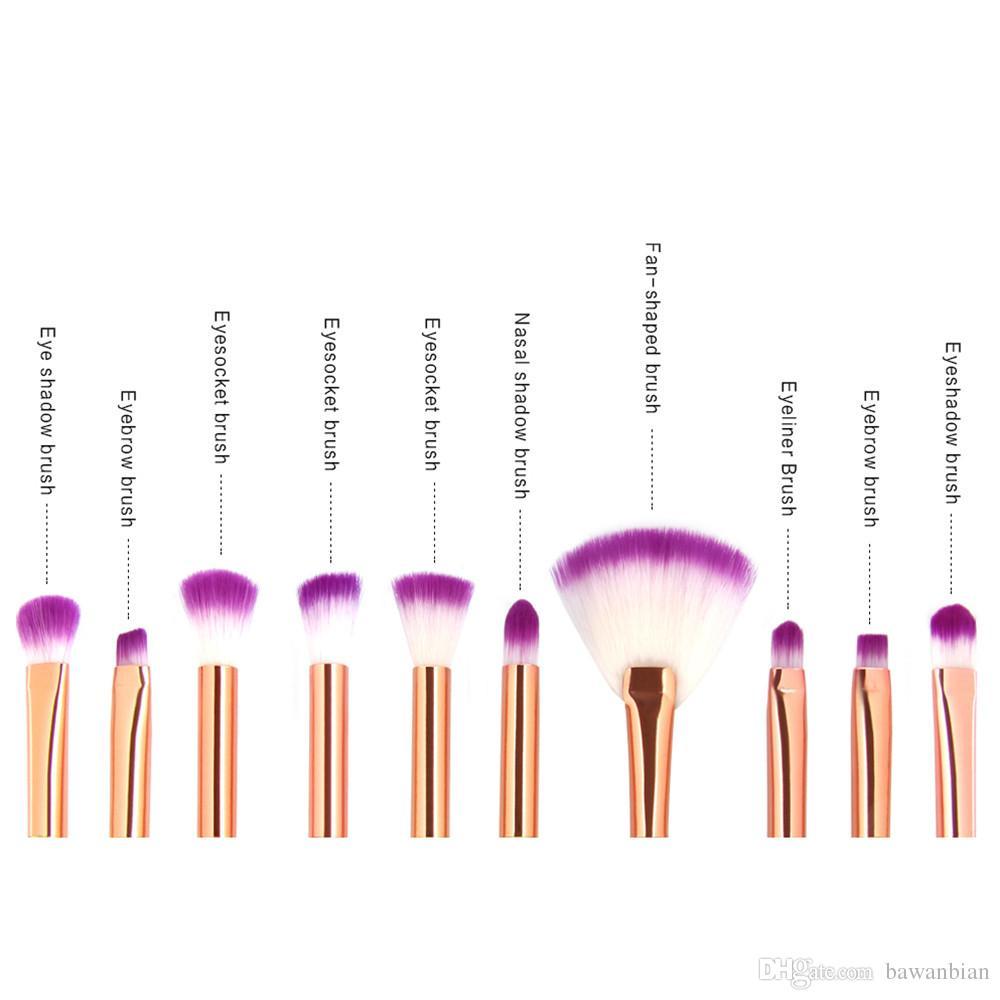 Profissional 10 Pçs / Set Mermaid Maquiagem Escovas Definir Fundação Misturando Sombra Contorno Contorno Corretivo Blush Ferramenta de Maquiagem Cosmética