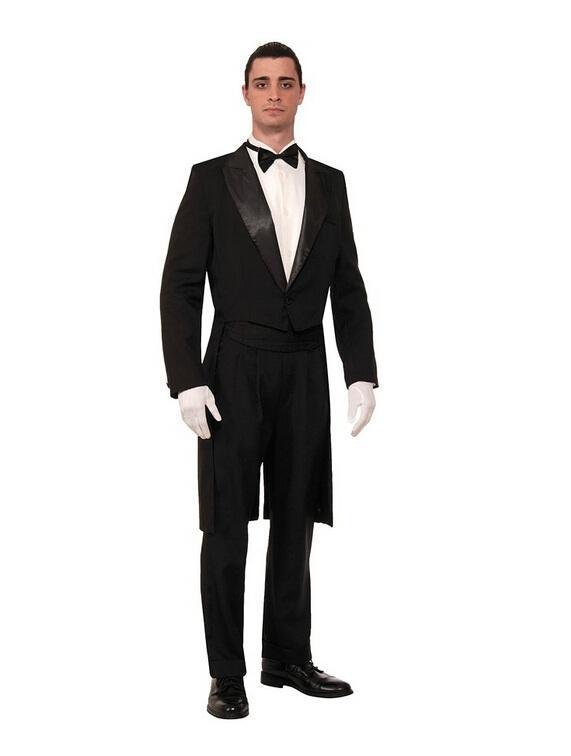 Gentleman uomo occasione formale a coda di rondine moda puro colore un pulsante mens abiti da sposa smoking uomo due pezzi giacca + pantaloni + papillon