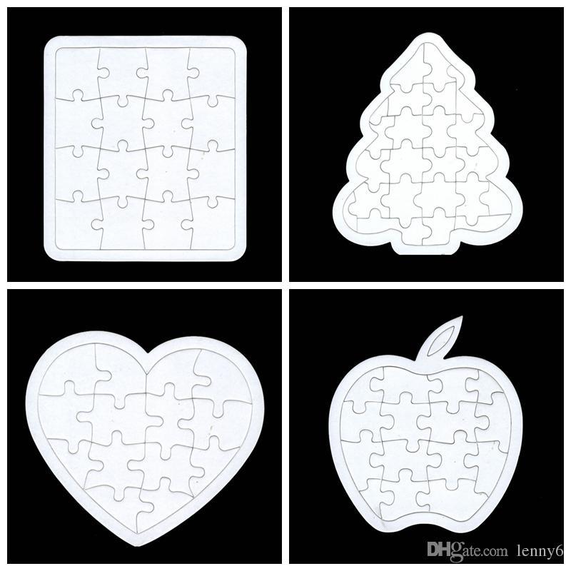 2019 Heart Rectangle Apple Christmas Tree Pentagram Blanked Puzzle For Children Painting ...