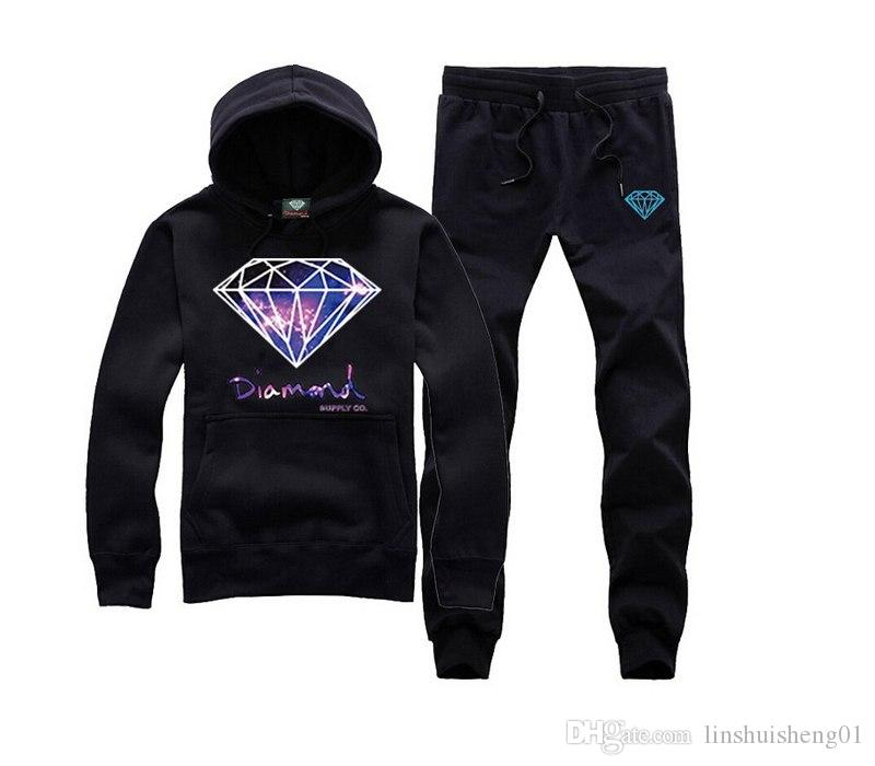 S-3XL new set Diamond Supply Co hoodie sweatshirt fashion hip hop new rock hooded+pants pullover sportswear clothes