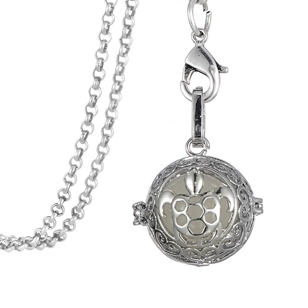 "32"" Chain Antique Silver Sea Turtle Shape Essential Oil Diffuser Pendant Necklace Therapy Luminous Jewelry"