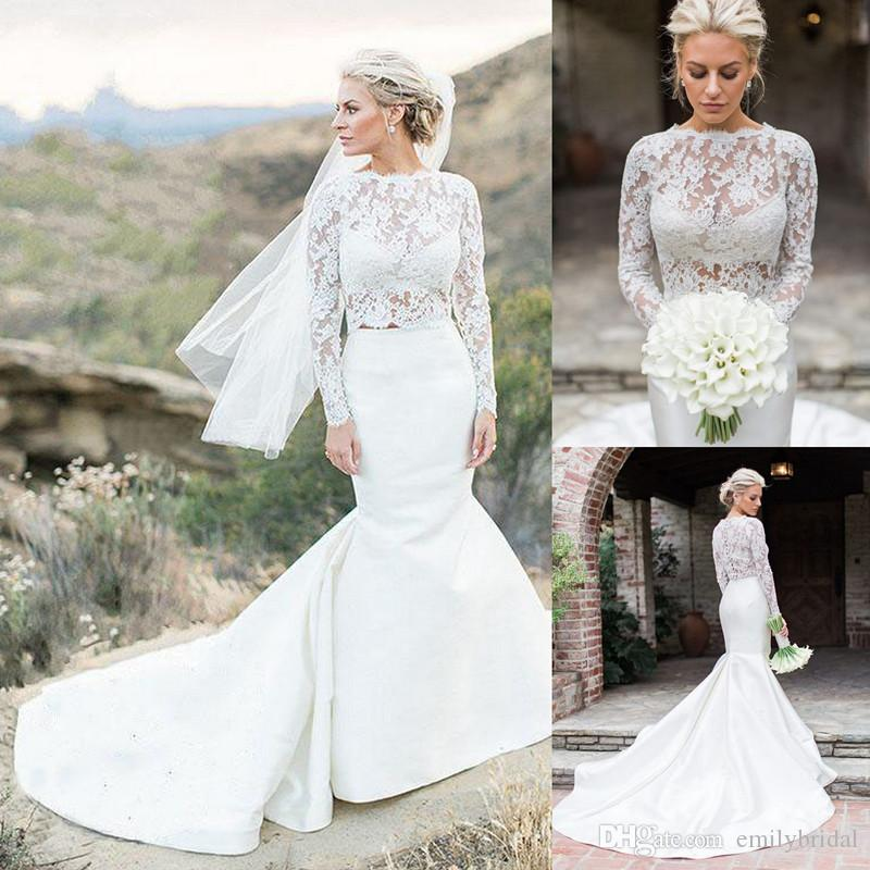 Stunning Two Piece Mermaid Wedding Dress Lace Long Sleeve