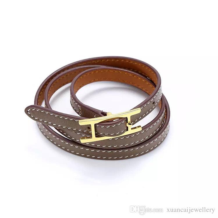 2017 ювелирные изделия Оптовая H пряжки ремня, три слоя кожаный браслет, Келл браслет, H письмо кожаные браслеты, мужчины и женщины браслет