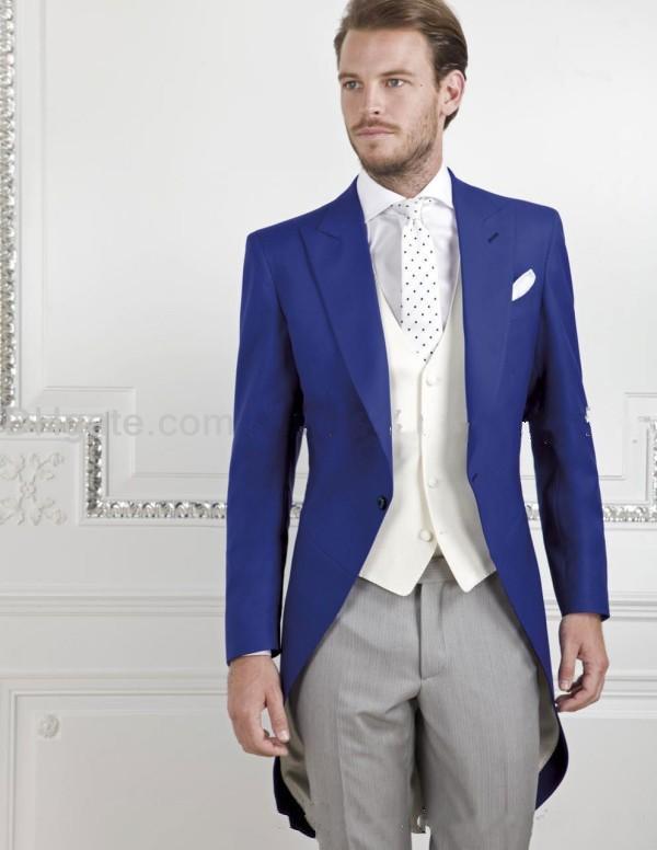 Estilo de la mañana Un botón Royal Blue Groom Tuxedos Peak Lapel Groomsmen El mejor hombre se adapta a los trajes de boda para hombre chaqueta + pantalón + chaleco + corbata