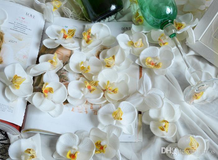 Soie Papillon Orchidées Artificielles Fleurs Tête Arrangements Orchidées pour Voiture De Mariage Décoration de La Maison Mariage Flores Cymbidium Fleurs
