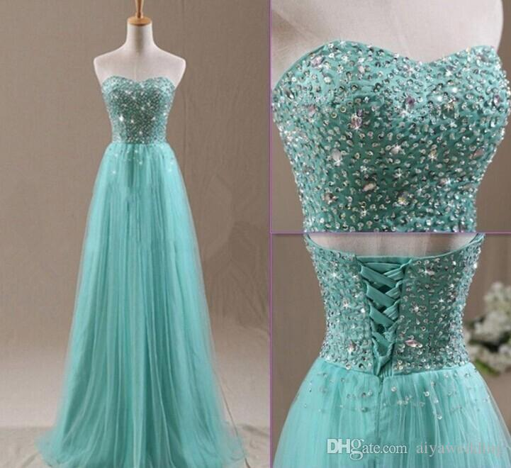 Crystals Long Evening Dresses Sweetheart Mint Tulle A line Gorgeous Beaded Sequins Corset Pageant Gowns 2019 Vestidos de fiesta Gorgeous New