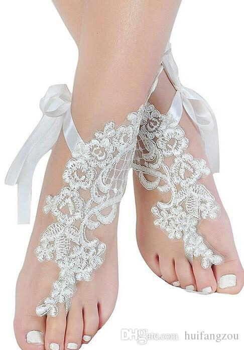 Romantic Beach Weddings Shoes Delicate Lace Applqiues Ribbon Open Toe Ankle Flat Bridal Shoe For Summer
