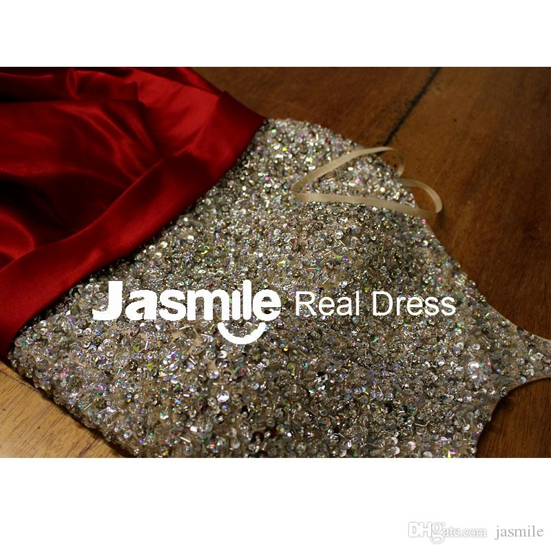 2016 New Halter Beaded Long Prom Dresses A Line Backless Party Dresses Gold Silver Sequins Black Royal Blue Satin Evening Gowns Real Photos