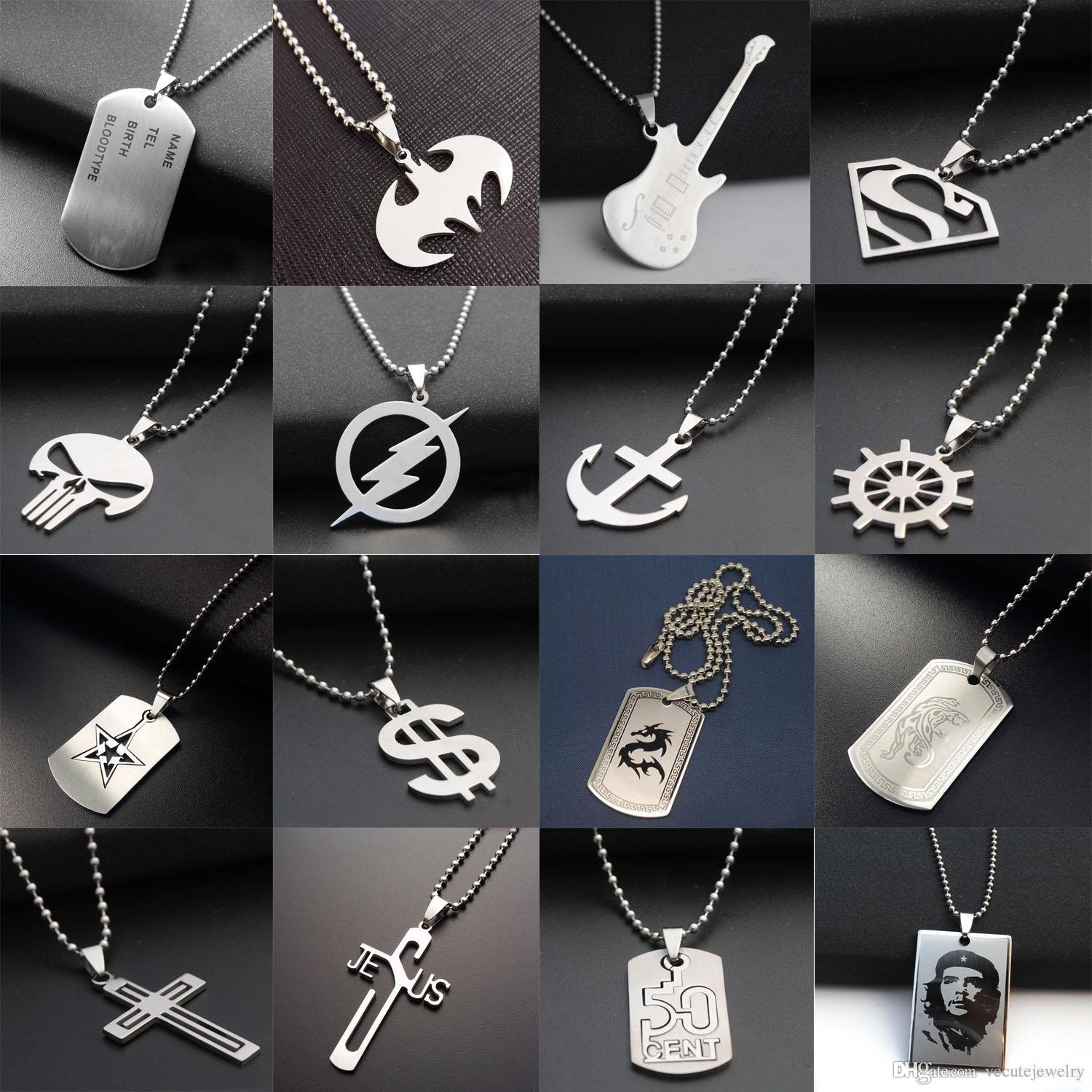 Wholesale fashion stainless steel 316l army dog tag men necklace wholesale fashion stainless steel 316l army dog tag men necklace cs games pendant necklaces charms jewelry for man superhero necklaces fans nice gift silver mozeypictures