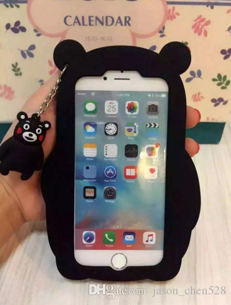 3D Kumamoto bear soft Silicon Rubber Back Case For Iphone 6 6S Plus 7 7plus 5S Cartoon Silicone Bear Cute Animal National treasure Skin Cell