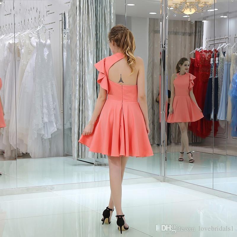 Eine Schulter A-Line Kurzbrautjungfernkleider für Junior Girls Party Kleider Günstige Rüschenhülse Homecoming Kleid