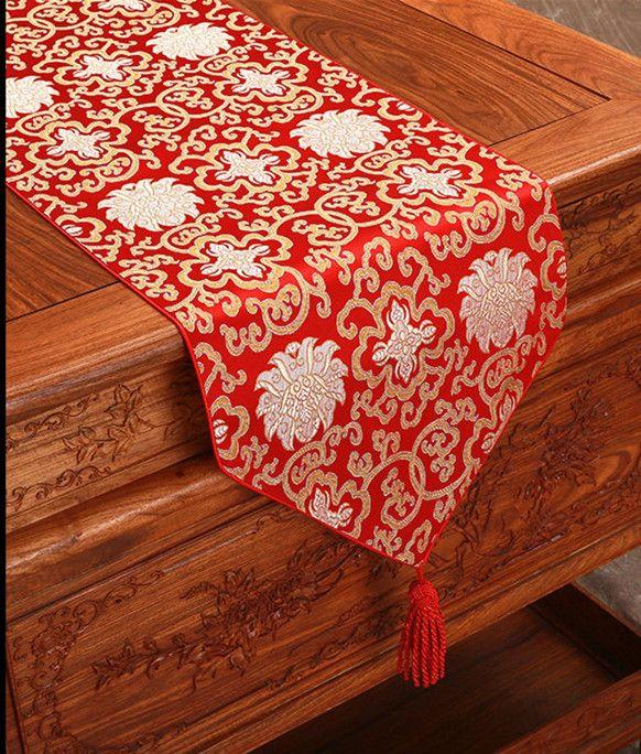 해피 공상 중국어 실크 패브릭 테이블 러너 크리스마스 사각형 다마 테이블 천으로 장식 식탁 매트 200x33cm