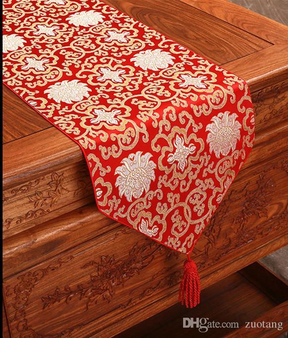 Szczęśliwy Fantazja Chiński Jedwabny Tkanina Biegacz Boże Narodzenie Prostokąt Damask Stół Tkaniny Dekoracyjne Dining Stół Mata 200x33cm