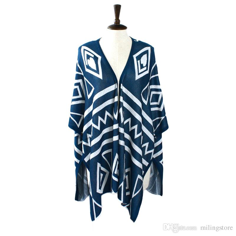 299415d9a36 Plus Size Poncho Aztec Tribal Geometric Long Asymmetrical Cloak ...