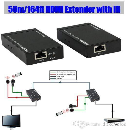3d Hdmi 1 4v Hdmi Extender Over Single 50m  164ft Utp Cables With Dual Ir Control Rj45 Utp Cable