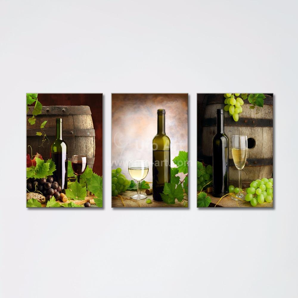 100 Diy Wine Bottle Crafts: 2018 3 Panel Wall Art Printed Painting Decor Grape Wine