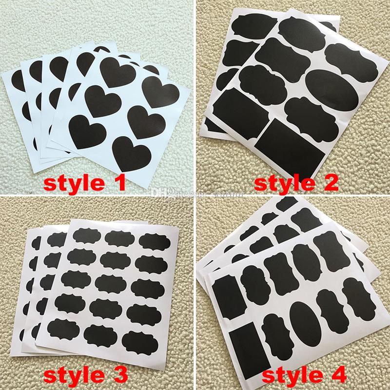 4 Style Chalkboard Sticker Labels Vinyl Kitchen Wall Sticker Jar Decor Decals PVC Wine Glass Drink Cup Label Kids Adult Gift WX9-116