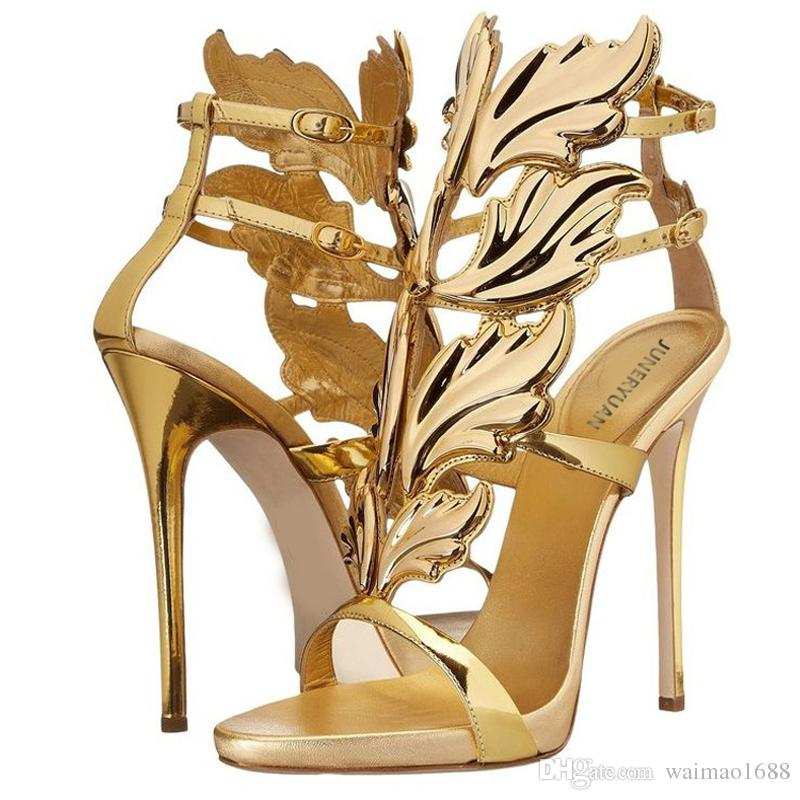 7407c0121f0 Hot Sell Women High Heel Sandals Gold Leaf Flame Gladiator Sandal Shoes  Party Dress Shoe Woman Patent Leather High Heels Sexy Shoes Sandels From  Waimao1688