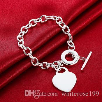Commercio all'ingrosso - regalo di Natale al prezzo più basso al dettaglio, spedizione gratuita, nuovo bracciale in argento 925 moda B1277