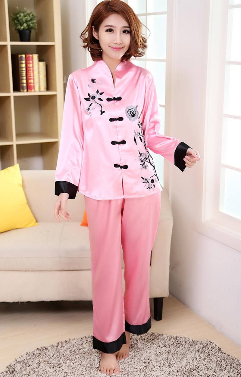 2019 Wholesale Pink Traditional Chinese Women Silk Pajamas Set Embroidery Pyjamas  Suit Home Wear Tang Suit Sleepwear Flower M L XL WP002 From Oott babe9ef9e